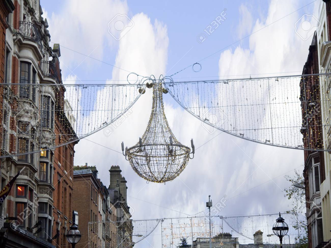 Christmas Decorations In Dublin City Ireland Stock Photo, Picture ...