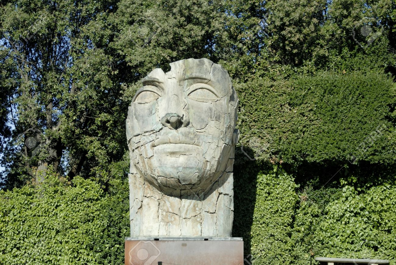 Giant Head Sculpture In The Boboli Gardens In Florence Italy Stock Photo    20188041