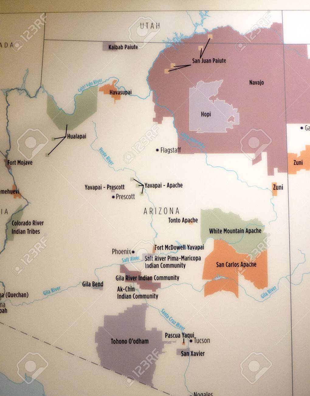 Map Of Arizona Indian Tribes.Map Showing The Native American Tribes In The South West Of The