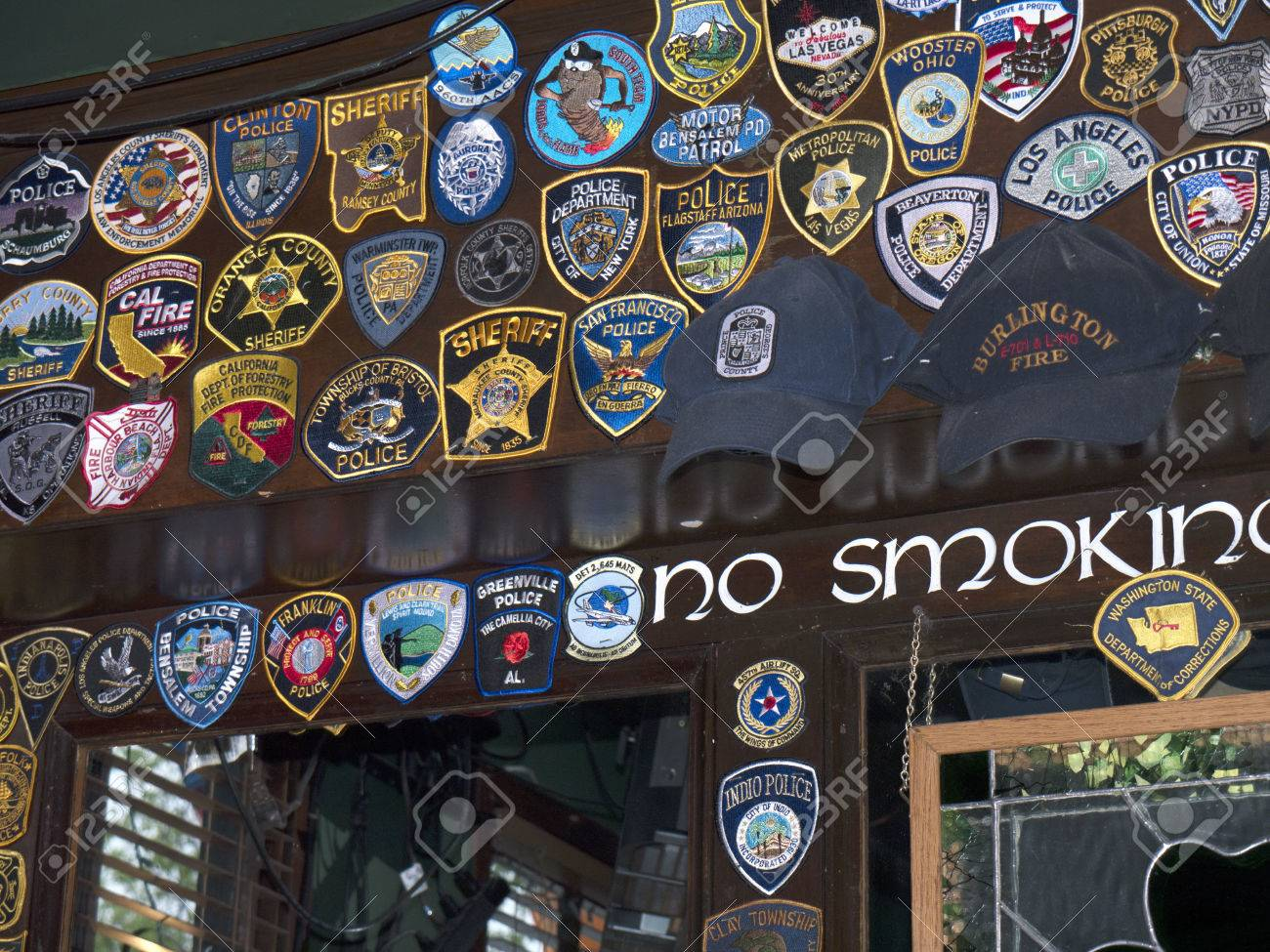 embroidered police badges in bar in alexandria virginia usa stock