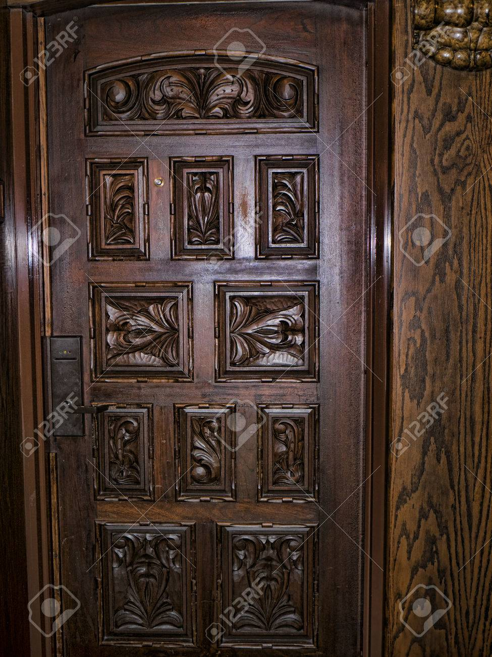 Carved wooden doors in luxury hotel in louisville kentucky usa stock photo 43903074