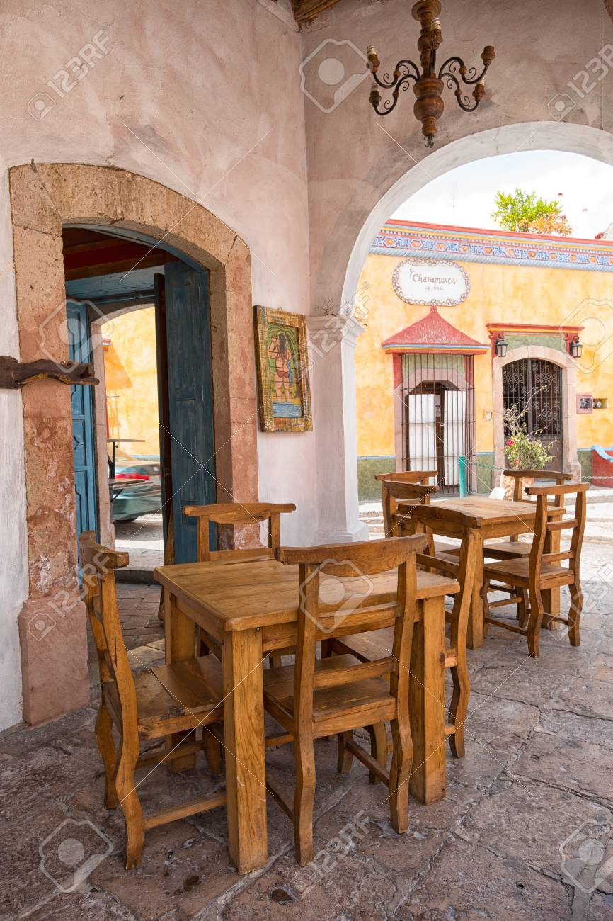 March 1 2016 Bernal Mexico Wooden Restaurant Chairs In The