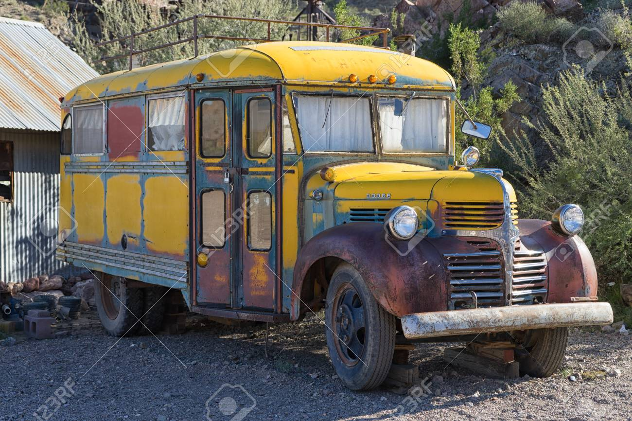 November 9, 2015 Nelson, Nevada, USA: old schooll bus at the
