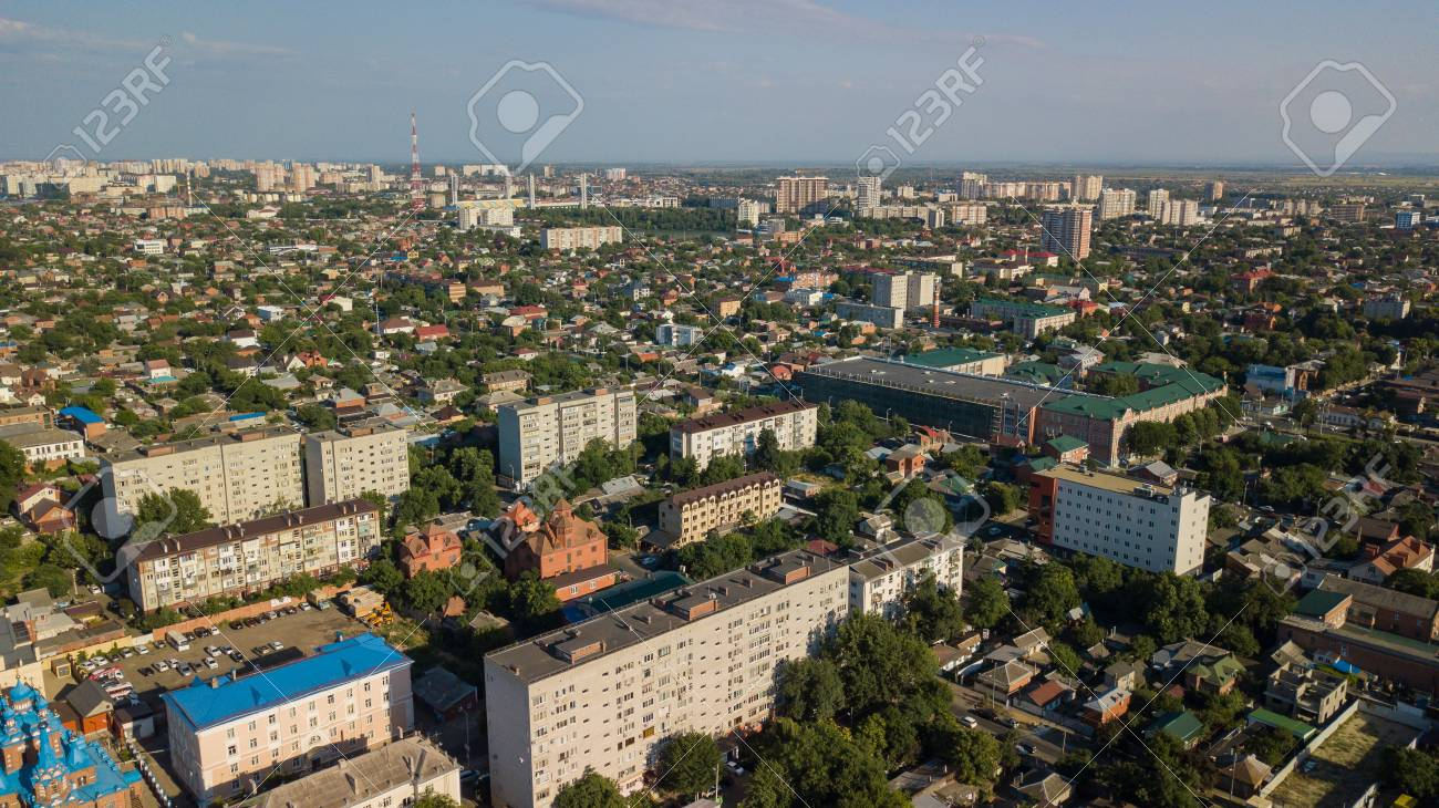 Krasnodar Russia Abstract Aerial Drone Footage Of Rooftops Stock Photo Picture And Royalty Free Image Image 104656597