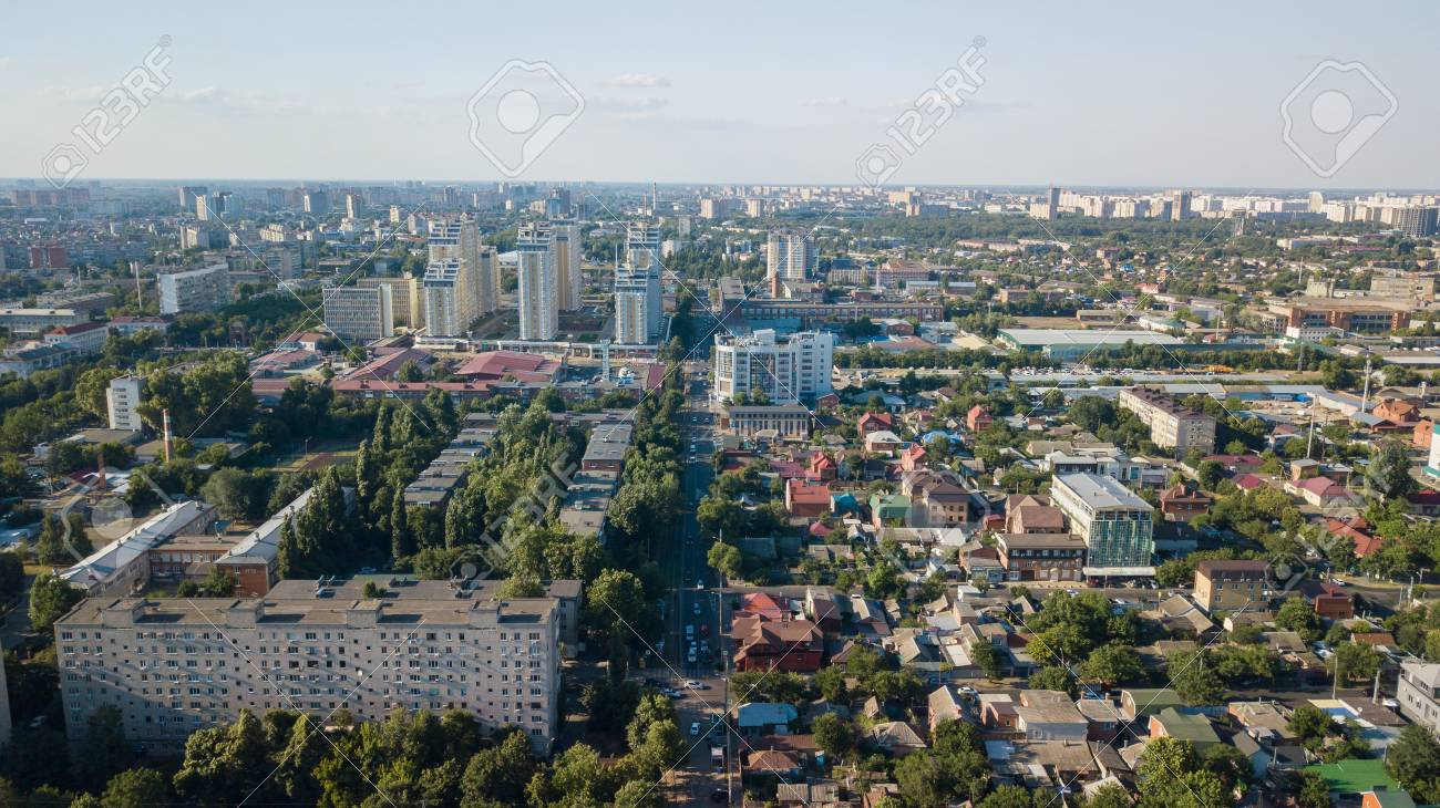 Krasnodar Russia Abstract Aerial Drone Footage Of Rooftops Stock Photo Picture And Royalty Free Image Image 104656661