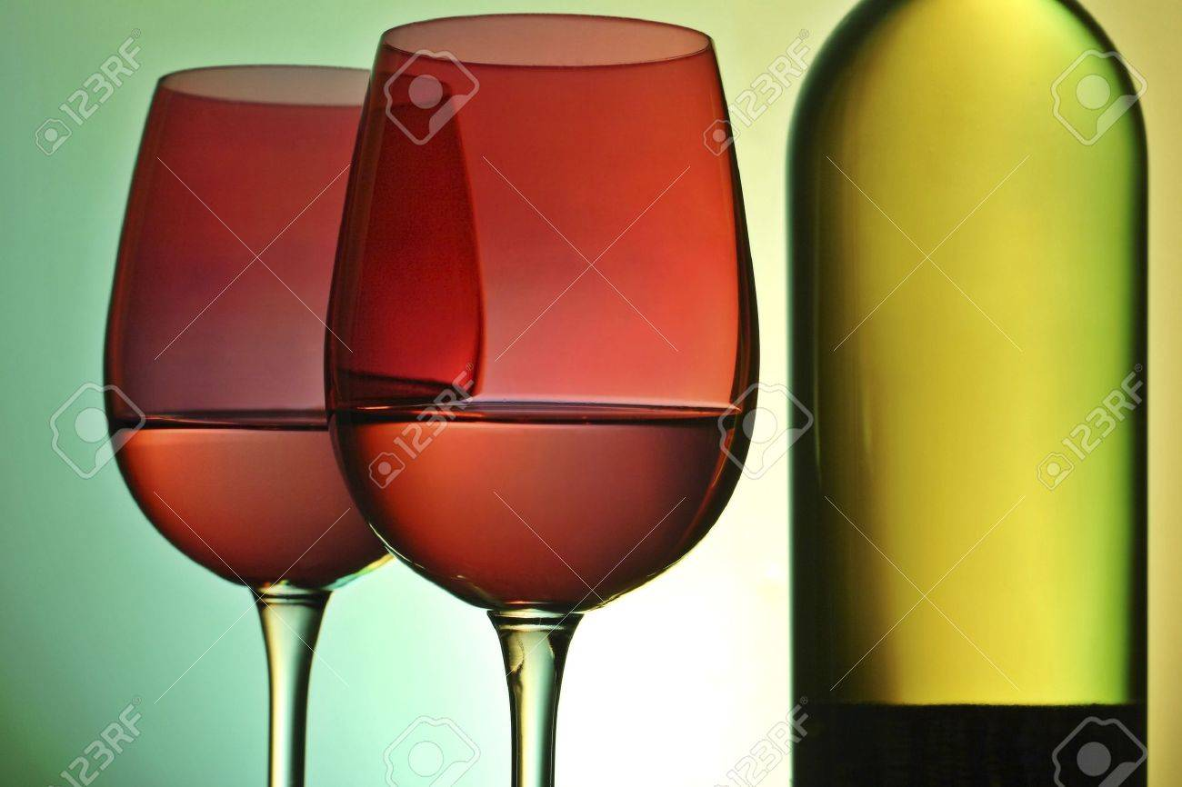 wine bottle and glasses with ambient lighting Stock Photo - 783937
