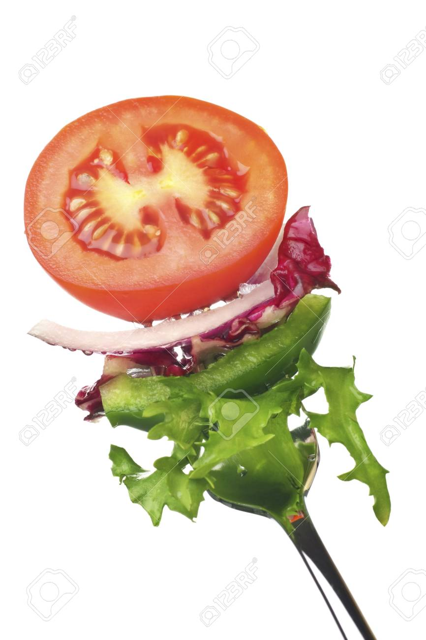 freshly prepared salad served on a fork Stock Photo - 3838189