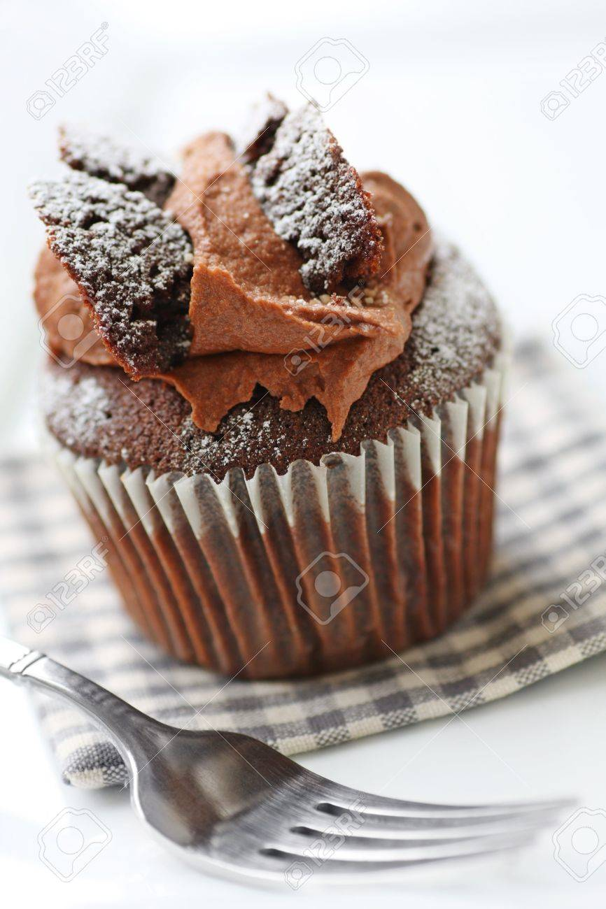 Schokolade Schmetterling Kuchen Mit Puderzucker Bestaubt