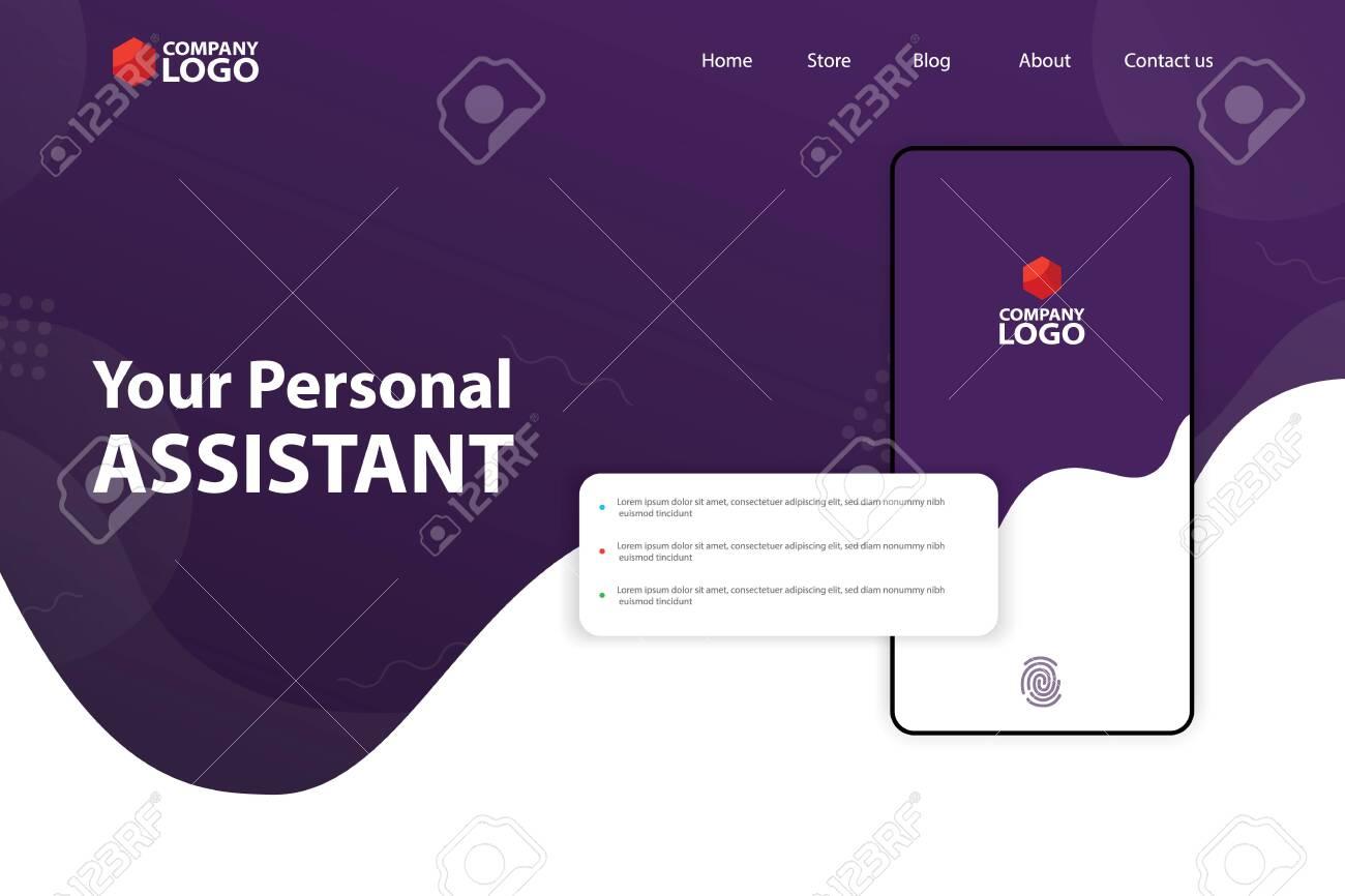 Mobile App Landing Page Vector Template Design - 132039426