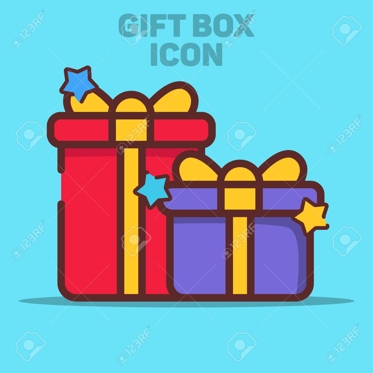 Isolated Gift Box Icon Vector Illustration with Blue Background - 132039250