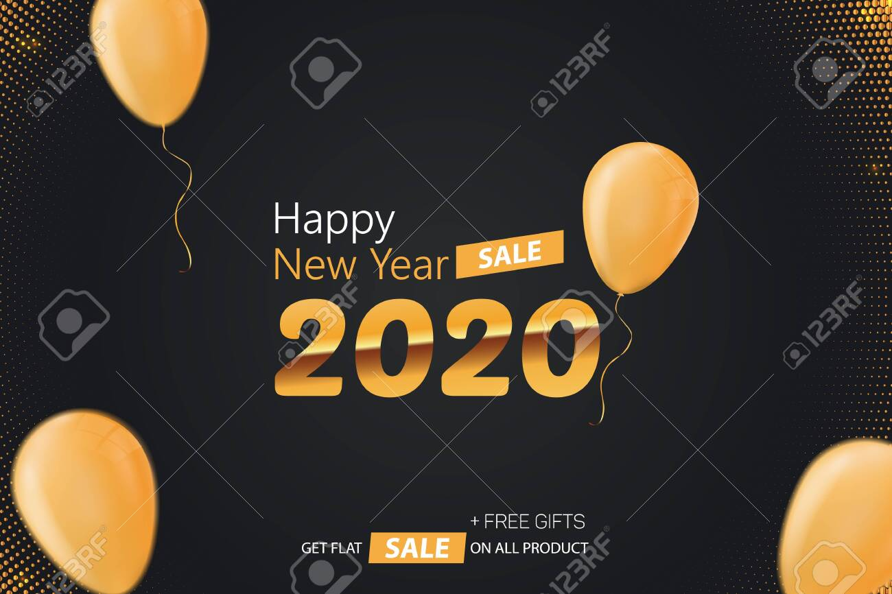 Happy New Year 2020 Sale Vector Background Illustration - 136165532