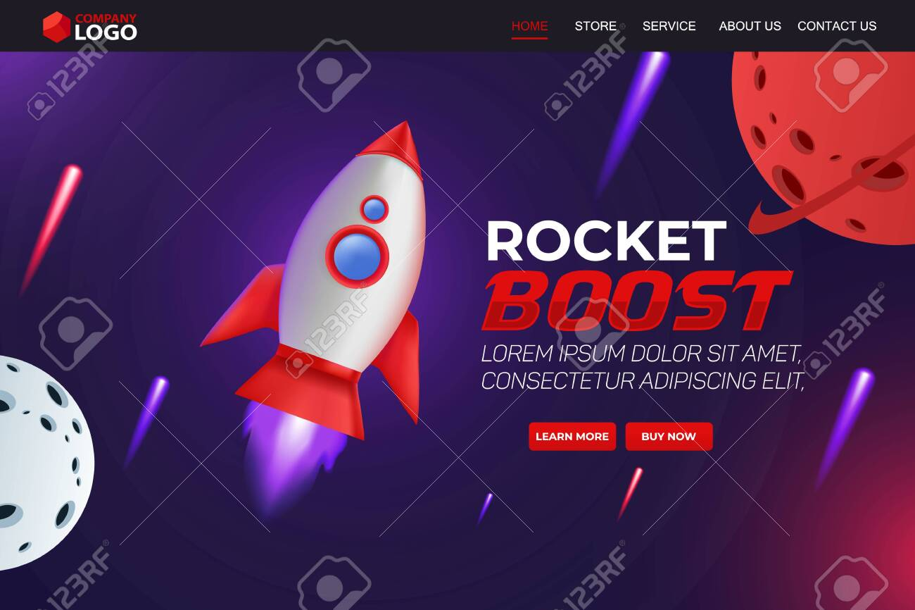 Rocket Boost Website Landing Page Vector Template Design - 137685069