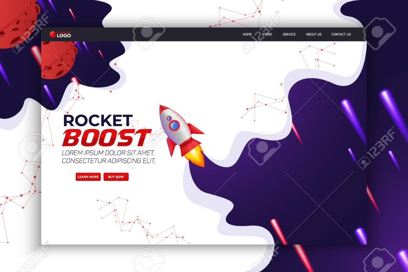 Rocket Boost Website Landing Page Vector Template Design - 137685070