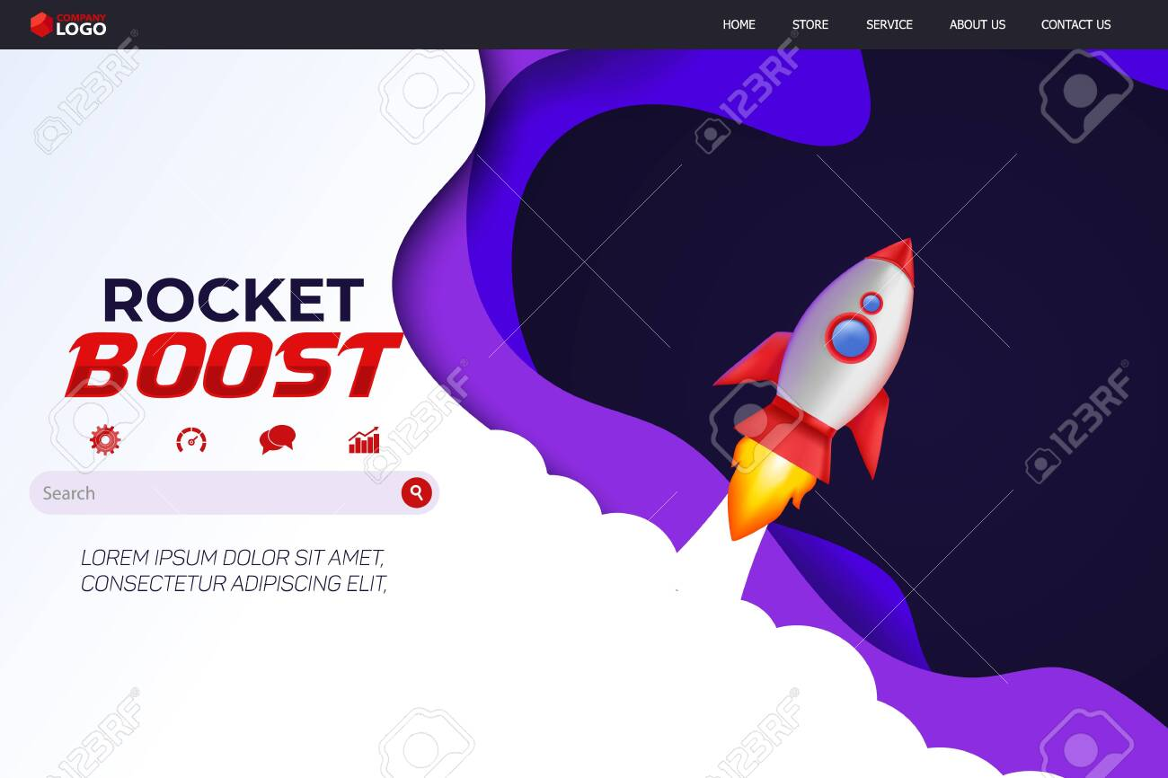 Rocket Boost Website Landing Page Vector Template Design - 137685071
