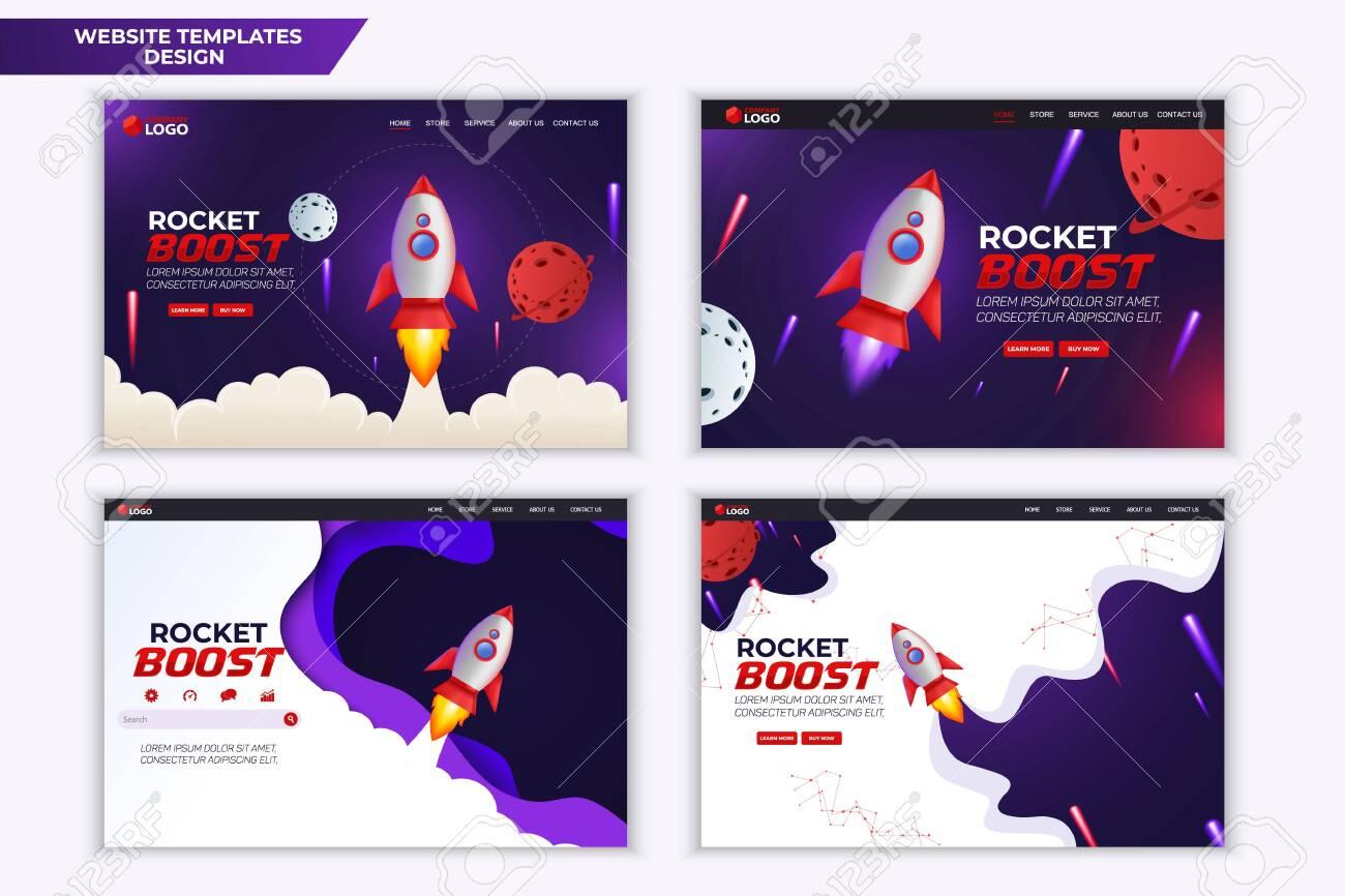 Rocket Boost Website Landing Page Vector Template Design - 137685072