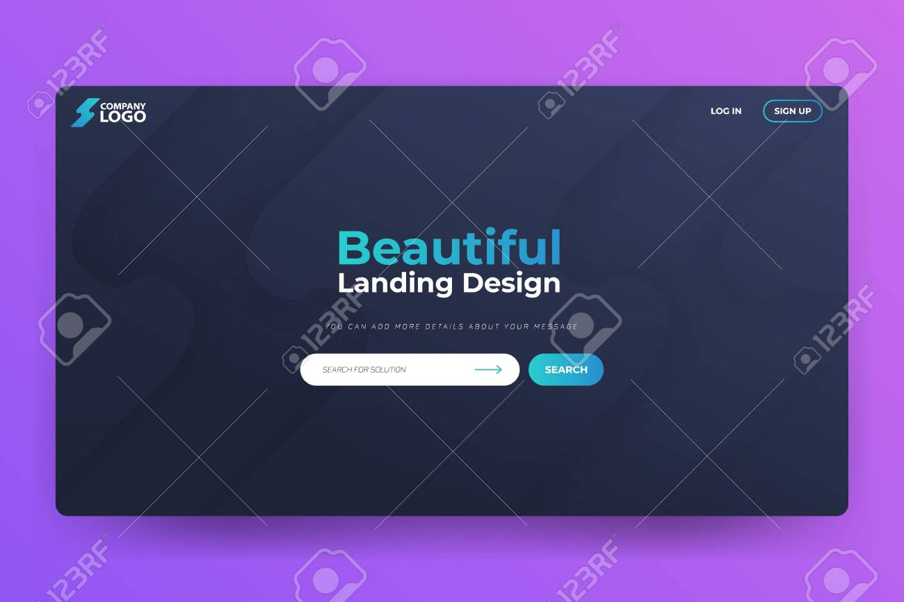 Beautiful Landing Page Vector Template Design - 144688492