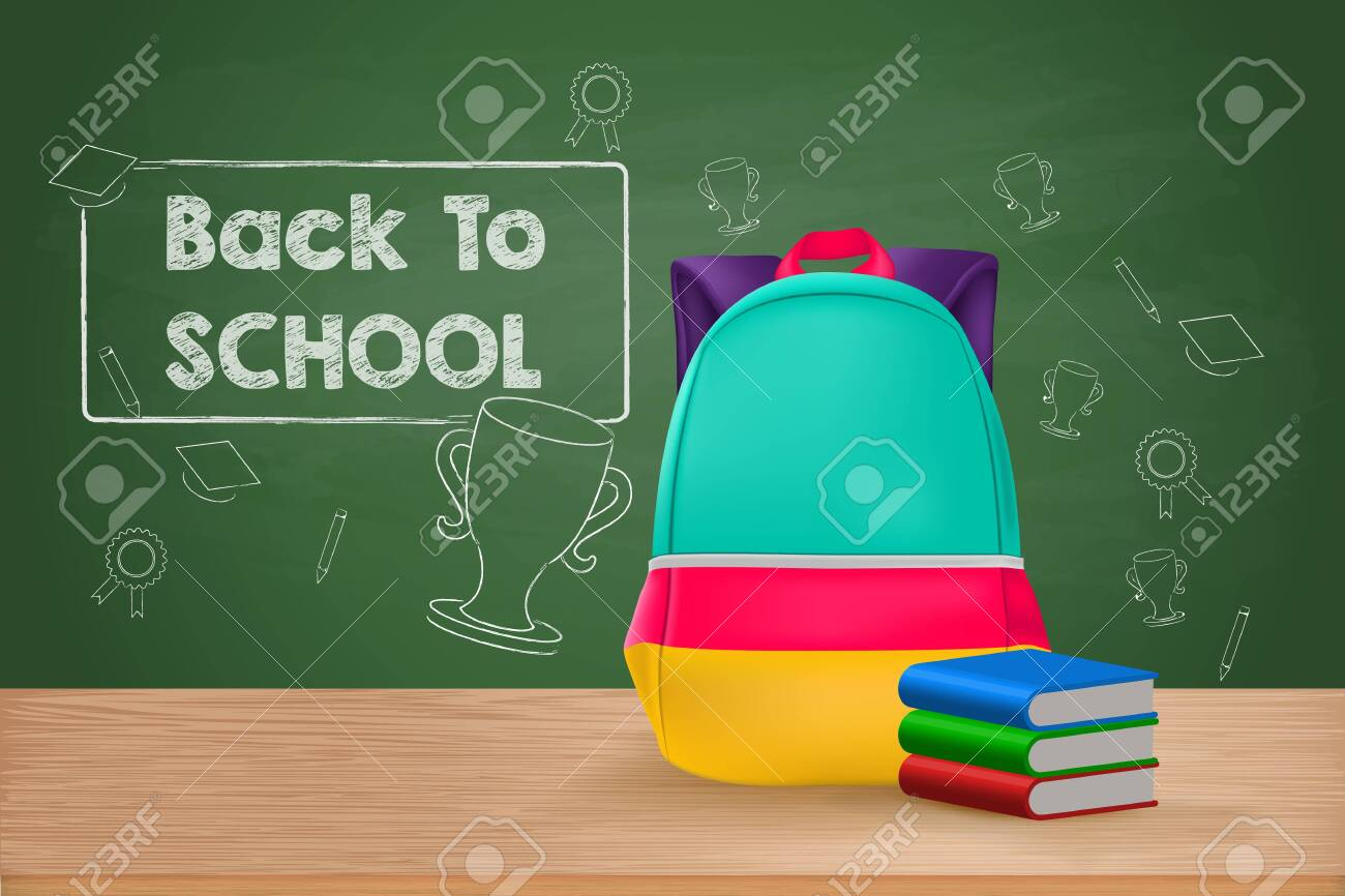 Back to School, School Bag and Books on Wooden Table - 144688494