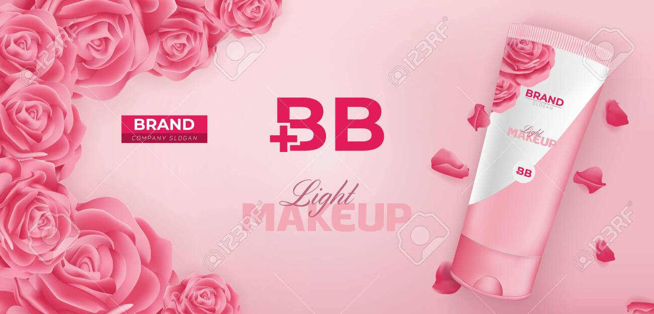 BB Beauty Cream Cosmetic Ad Vector Banner Template Design - 144688072