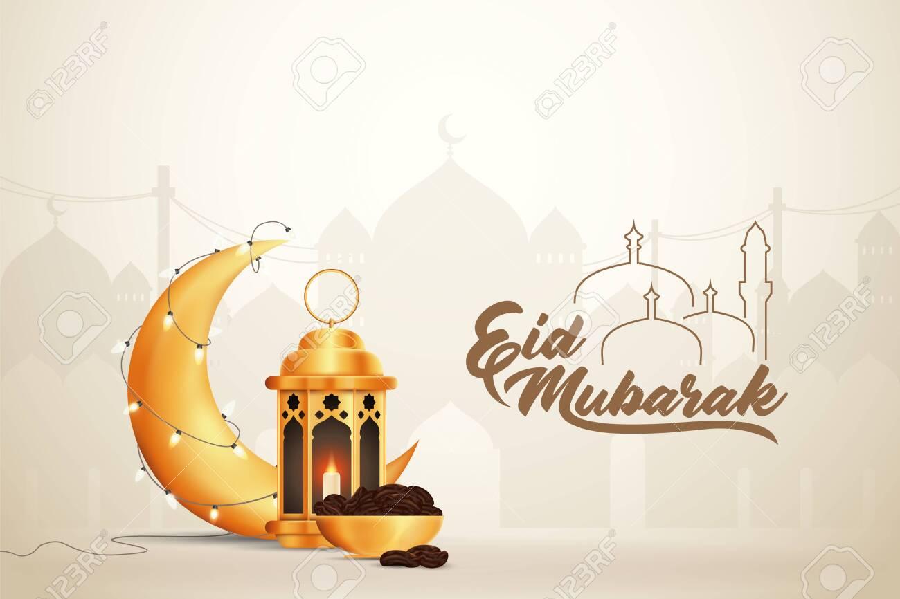 Beautilful Eid-al-fitr Eid-al-adha Eid Mubarak Greetings Vector Illustration Background - 148974697