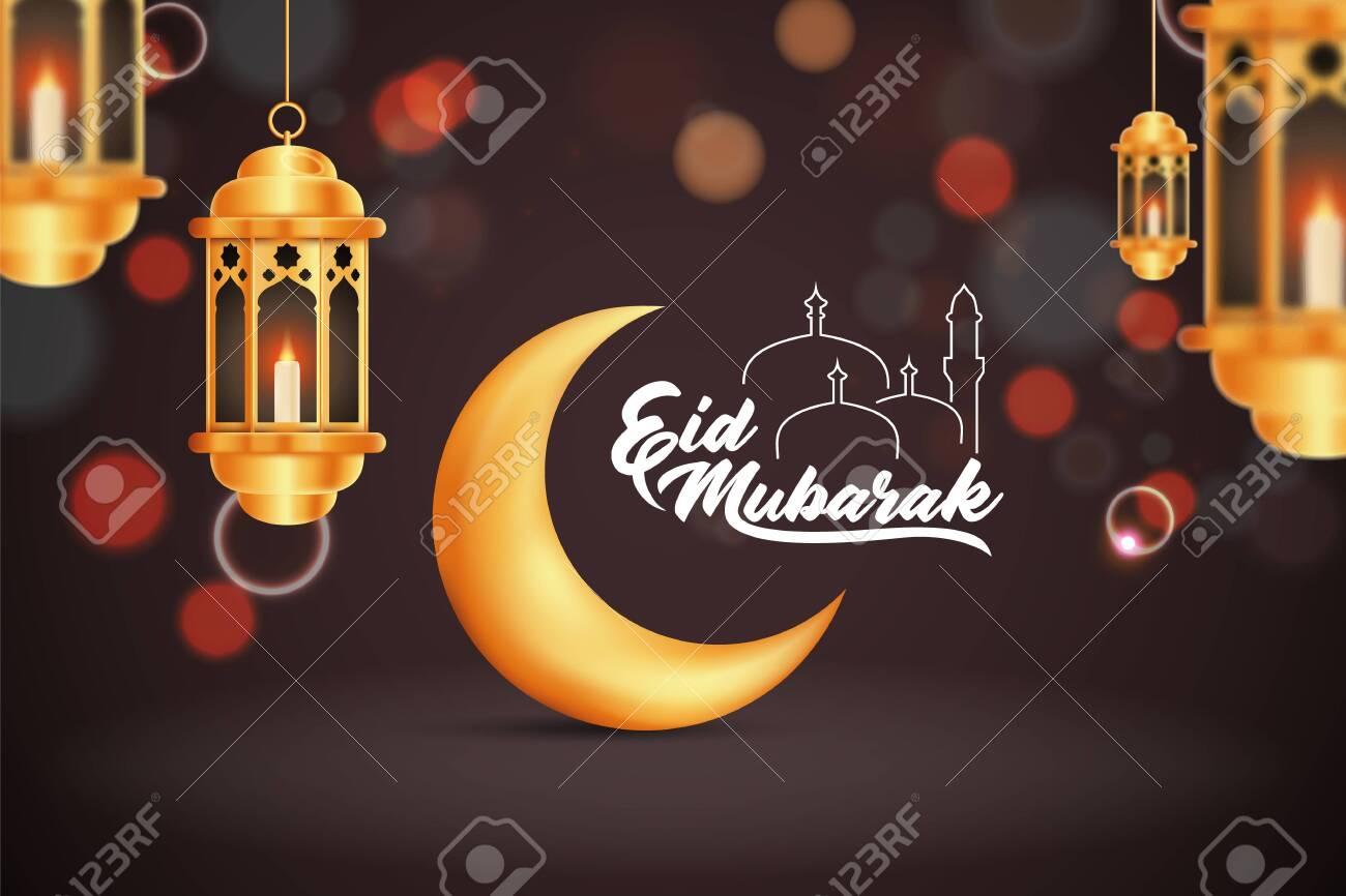Beautilful Eid-al-fitr Eid-al-adha Eid Mubarak Greetings Vector Illustration Background - 148974698