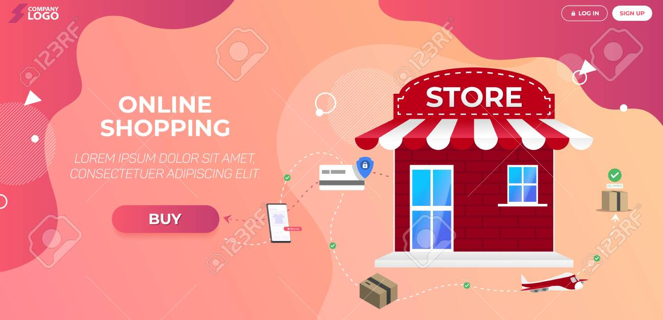 Online Shopping Store Landing Page Premium Vector - 155781524