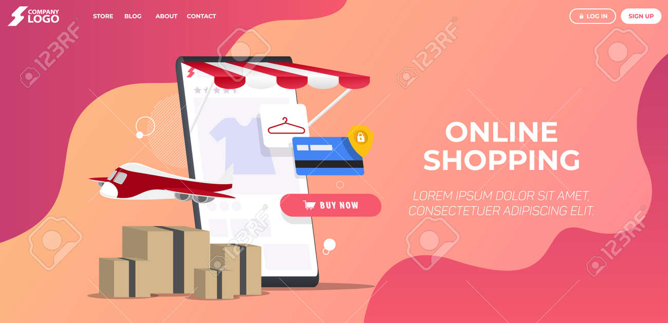 Online Shopping Store Landing Page Premium Vector - 155781527