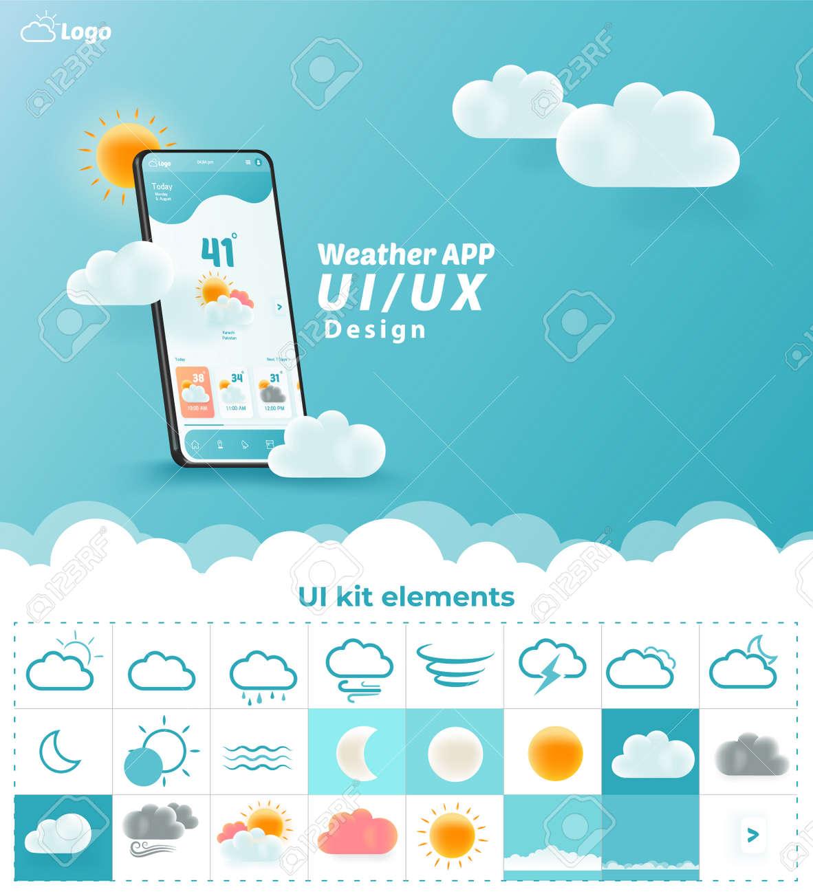 Weather App UI/UX Kit Elements, Website Landing Page Vector - 157651895
