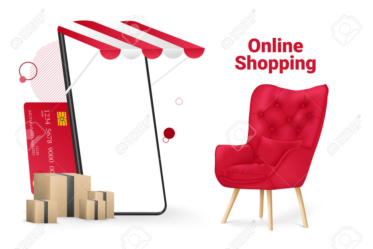Online Shopping Store and Mobile Mockup Template Vector Illustration - 164379034
