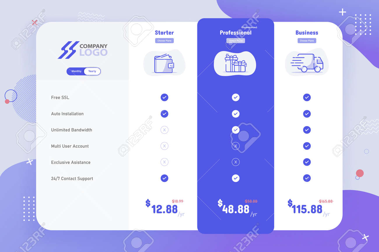 New Modern 3 Plan Pricing Table Template Design - 164379037
