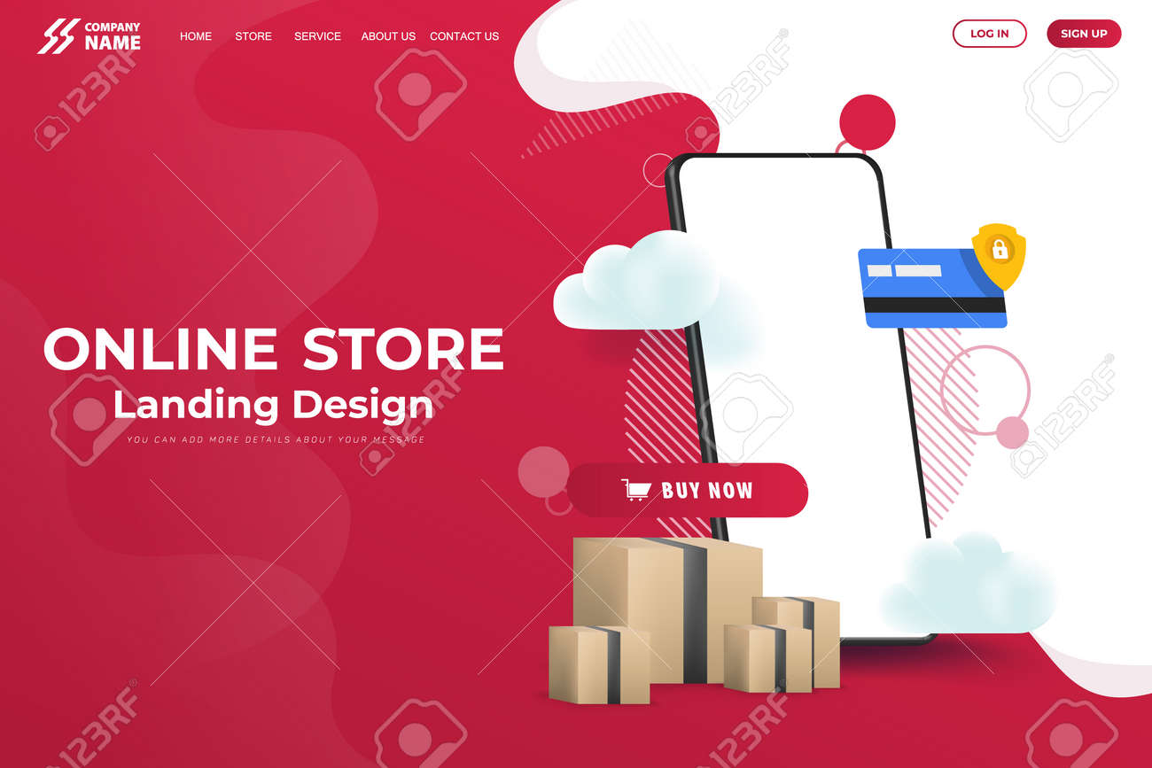 Online Store Website Landing Page Design Vector - 167246928