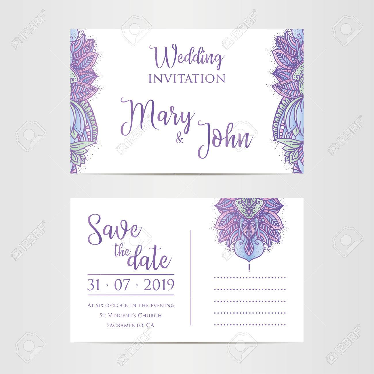 vintage template design layout for a wedding invitation thank