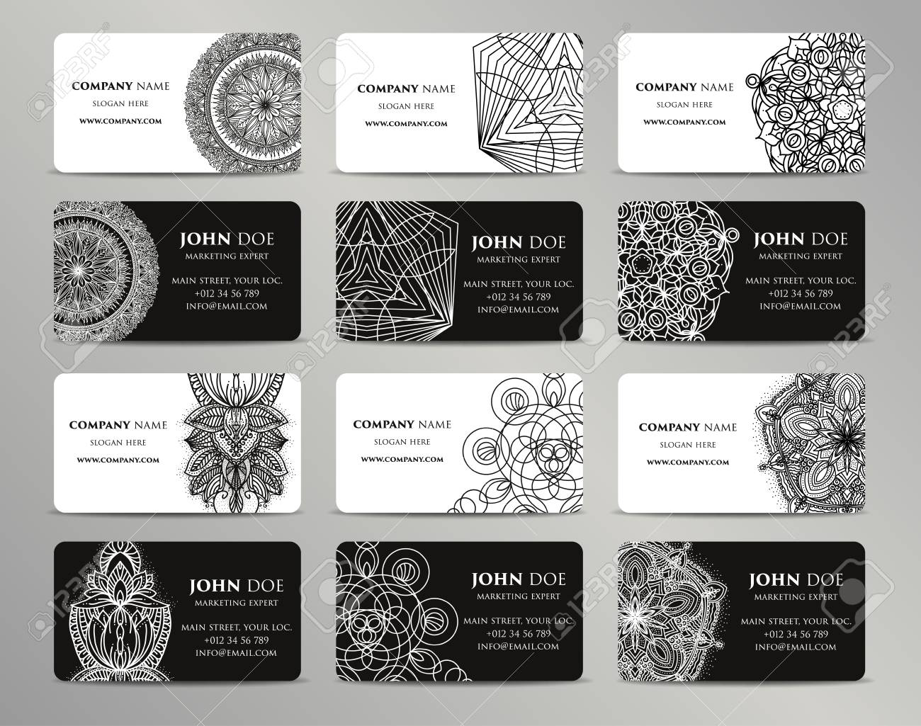 Vector vintage business cards big set  Islam, Arabic, Indian,
