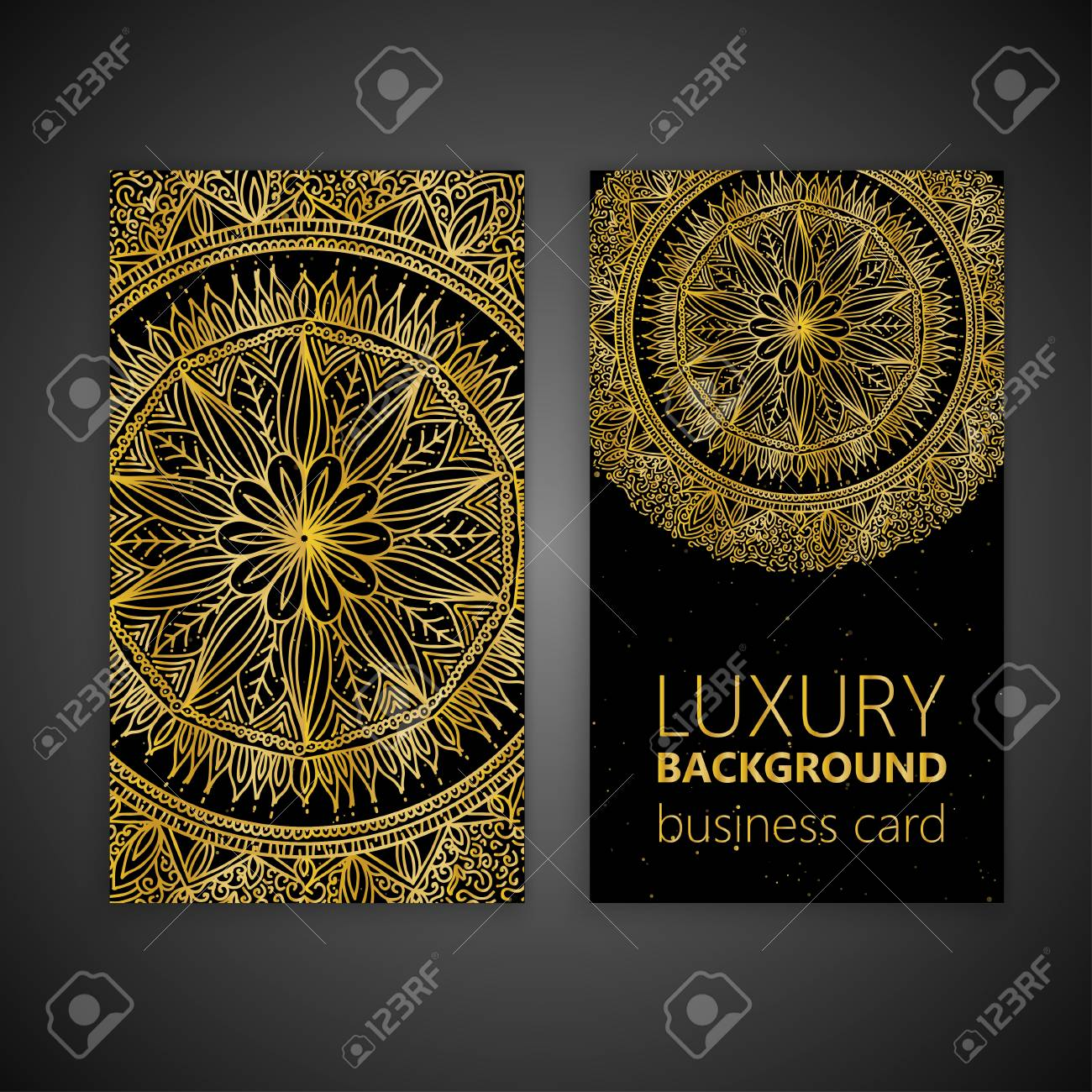 Business card set golden mandala decorative elements islam business card set golden mandala decorative elements islam arabic indian moroccan reheart Image collections