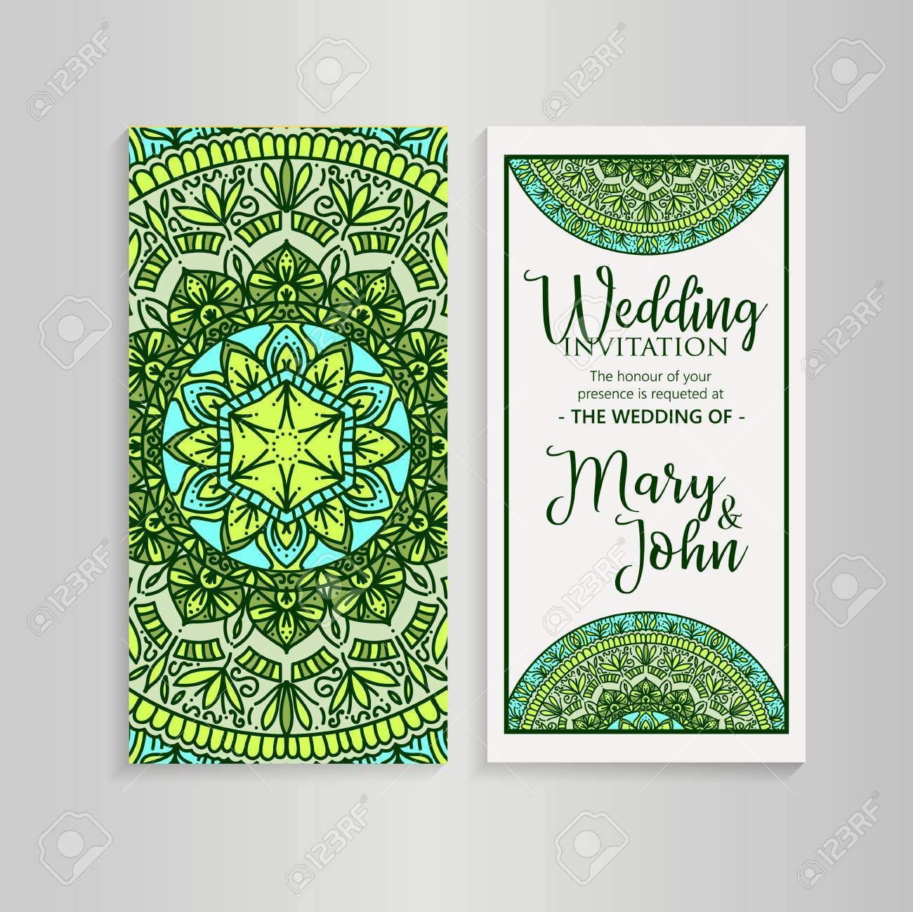 Vector Luxury Wedding Invitation Mandala Yoga Template Royalty Free ...