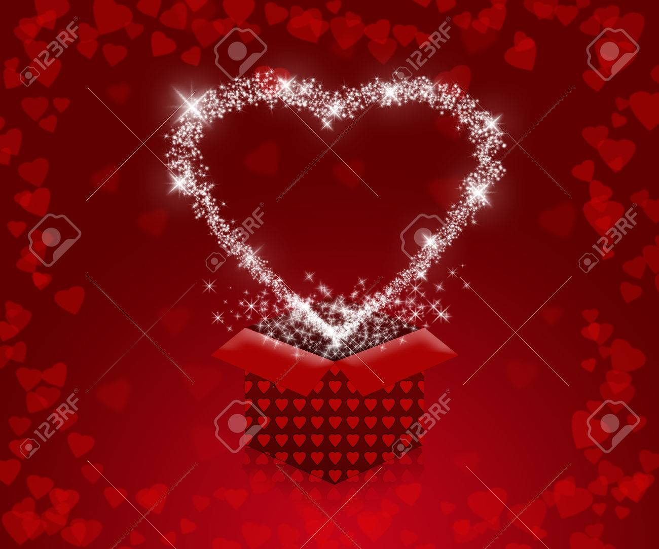 background with red hearts and gift box to valentine's day. love
