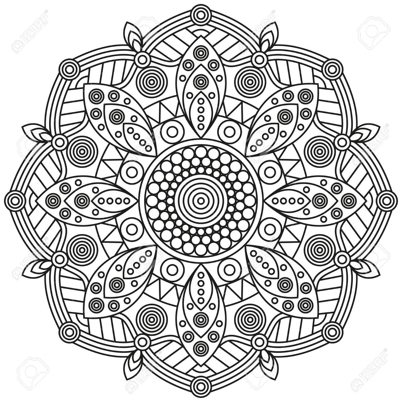 Modelo De La Mandala En Negro Y Blanco. La Impresión Ornamental De ...