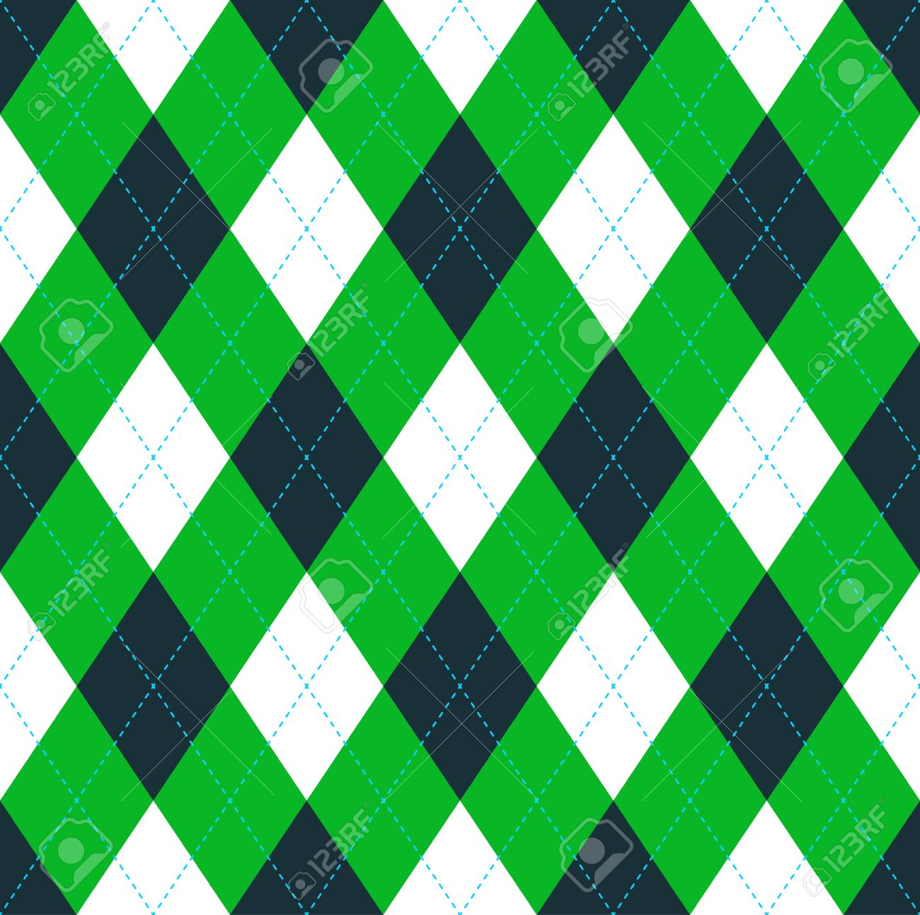 seamless argyle pattern in dark green lime green white with
