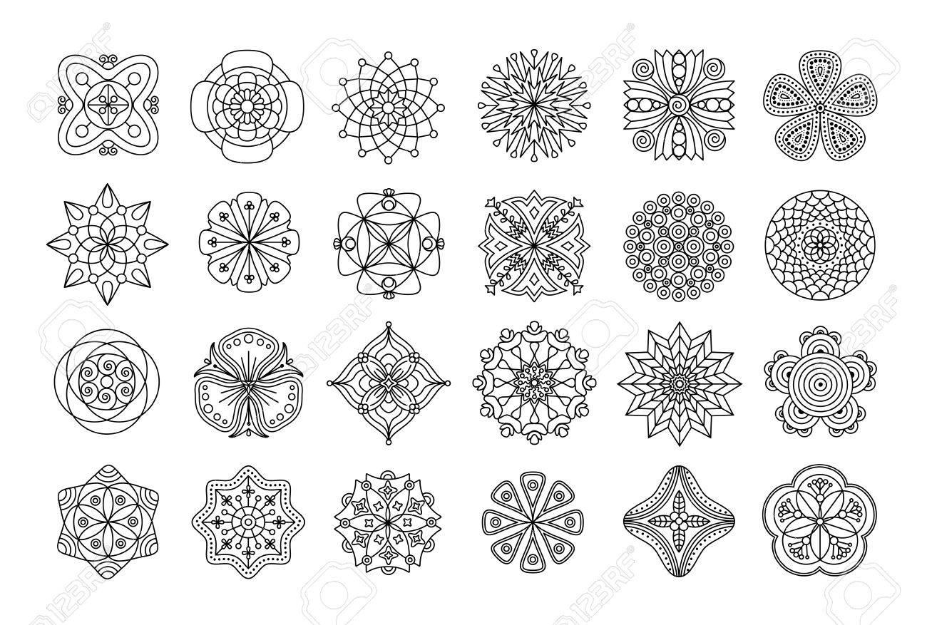 Colección De Mandalas Doodle Floral Blanco Y Negro Elementos De La Flor Del Extracto Para Colorear Páginas De Libros Iconos Botánicos Etiquetas