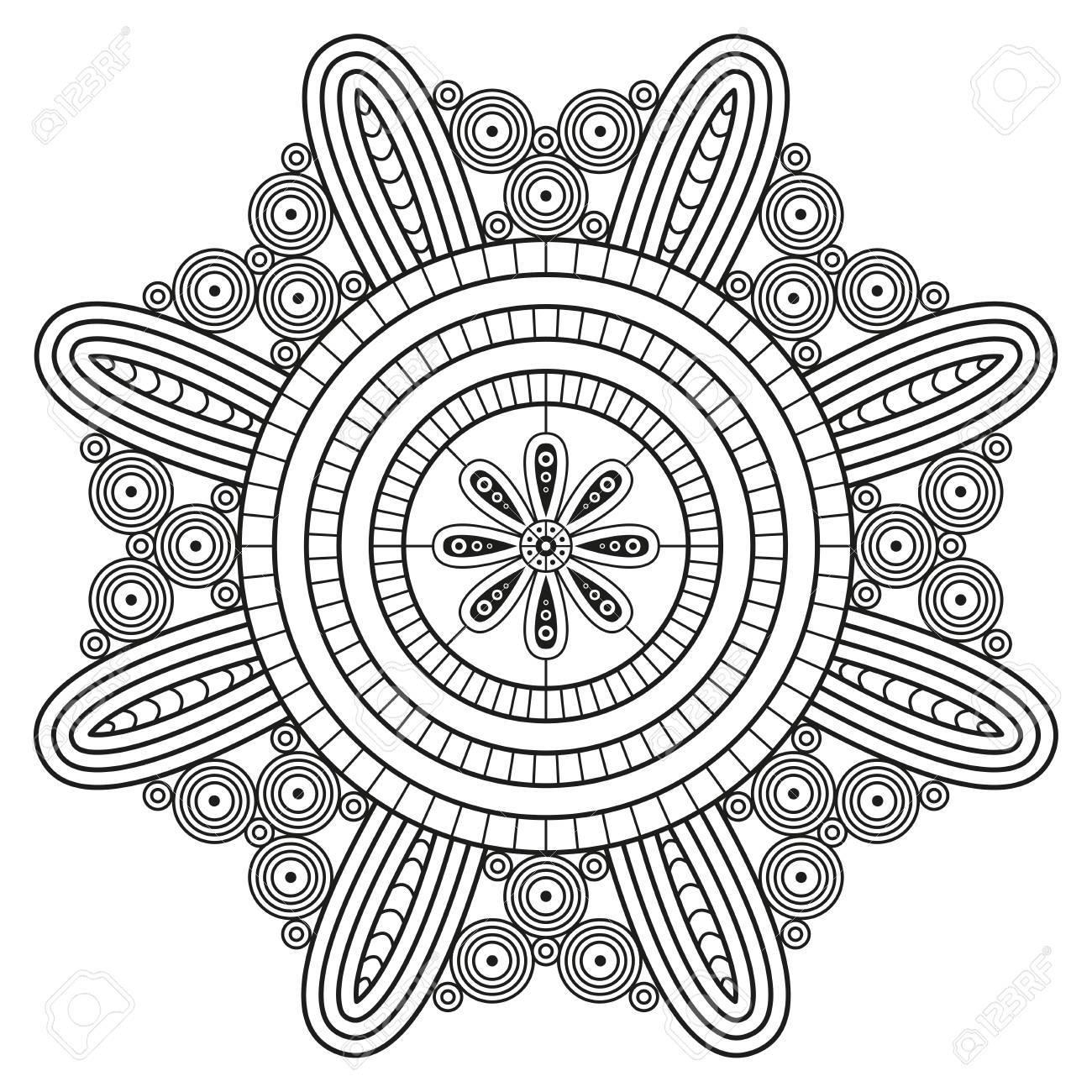 - Mandala Pattern. Coloring Book Pages Print. Royalty Free Cliparts