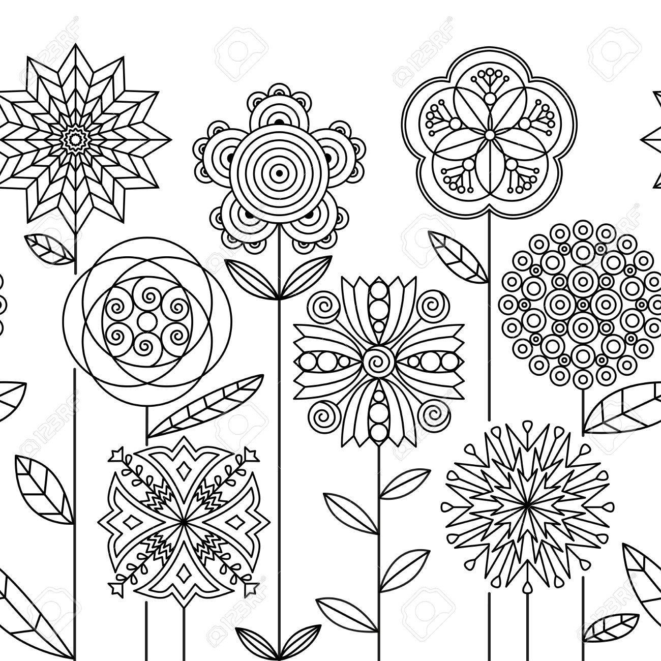 Seamless Doodle Botanical Border Pattern. Flower Coloring Book