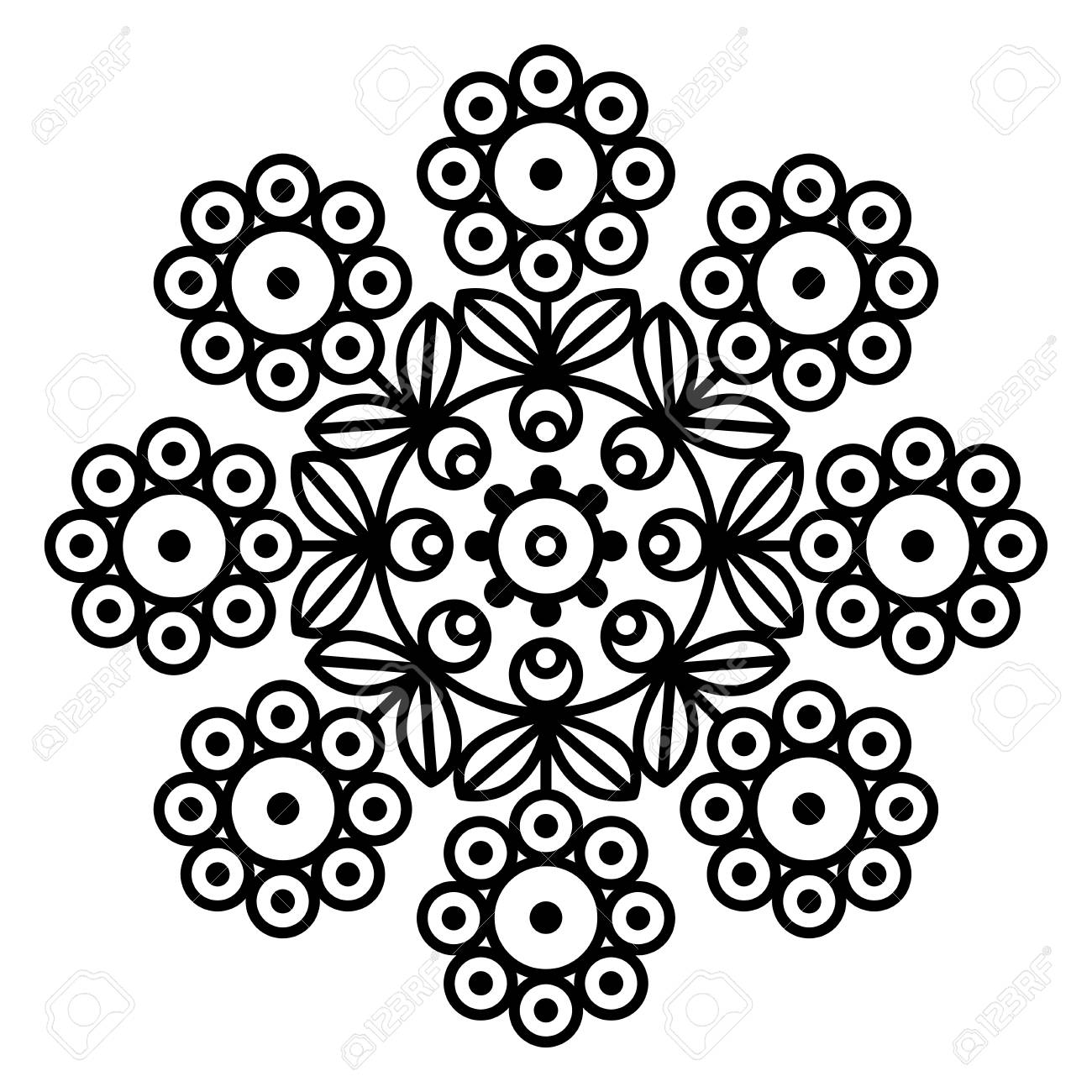 Simple Floral Mandala Print Easy Coloring Page Illustration
