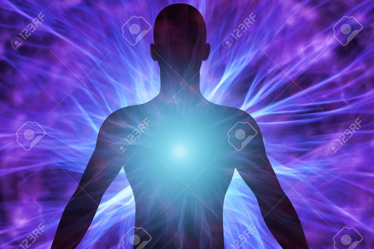 Human body with energy beams - 58762011