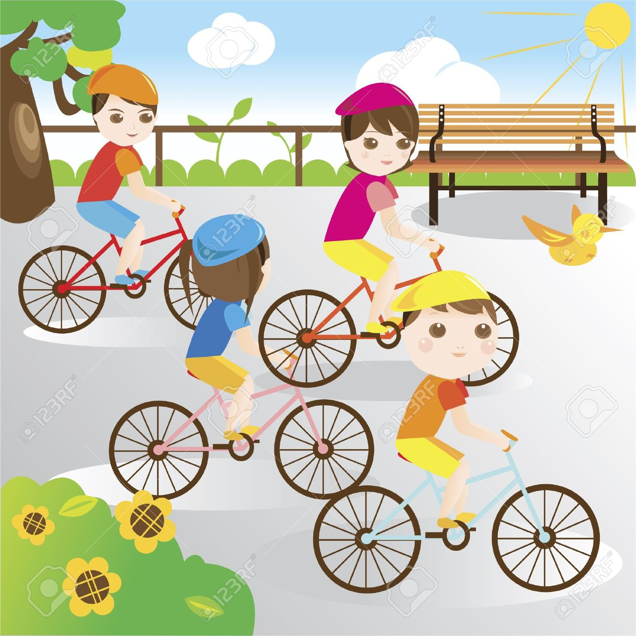 Family riding bicycle in the park Stock Vector - 10715053