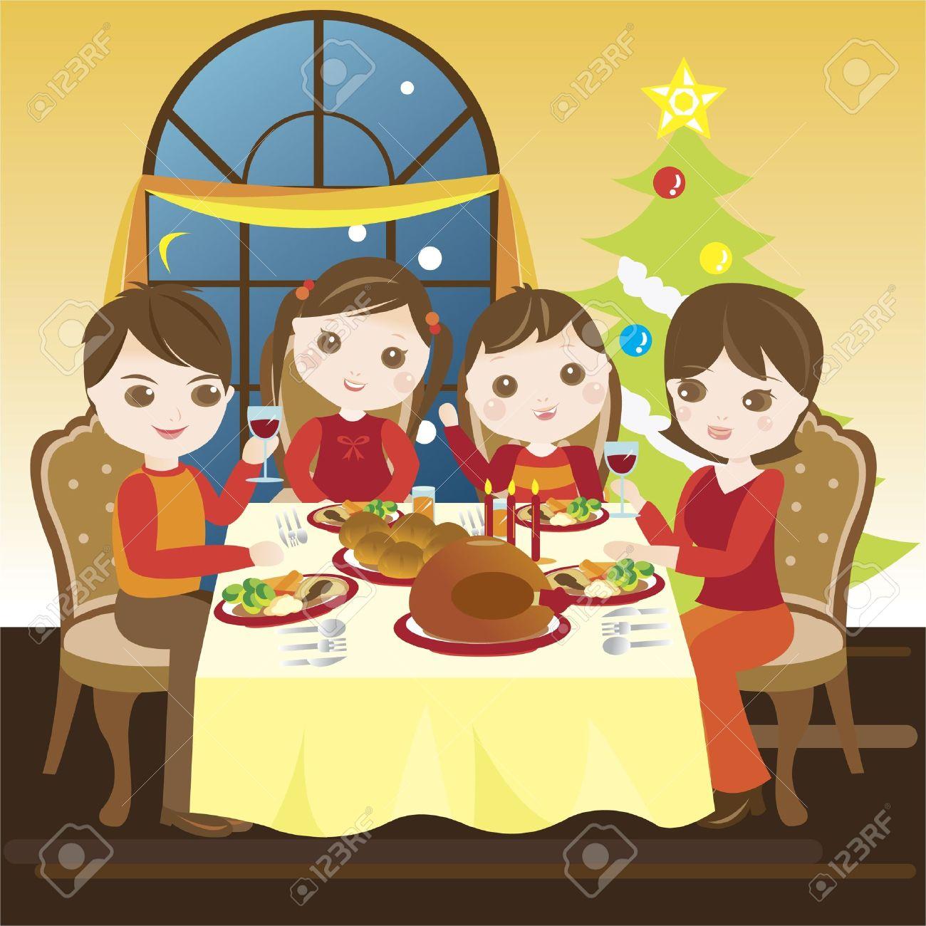 Famille Ayant Un Repas De Noel Ainsi Clip Art Libres De Droits