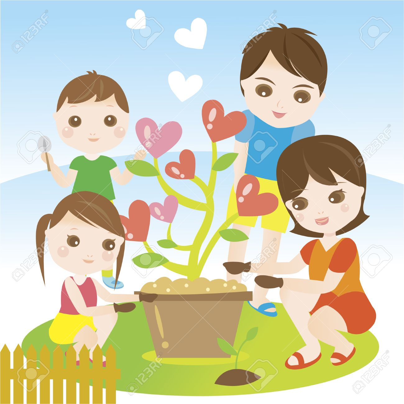 Family Garden Clipart Family Gardening Family