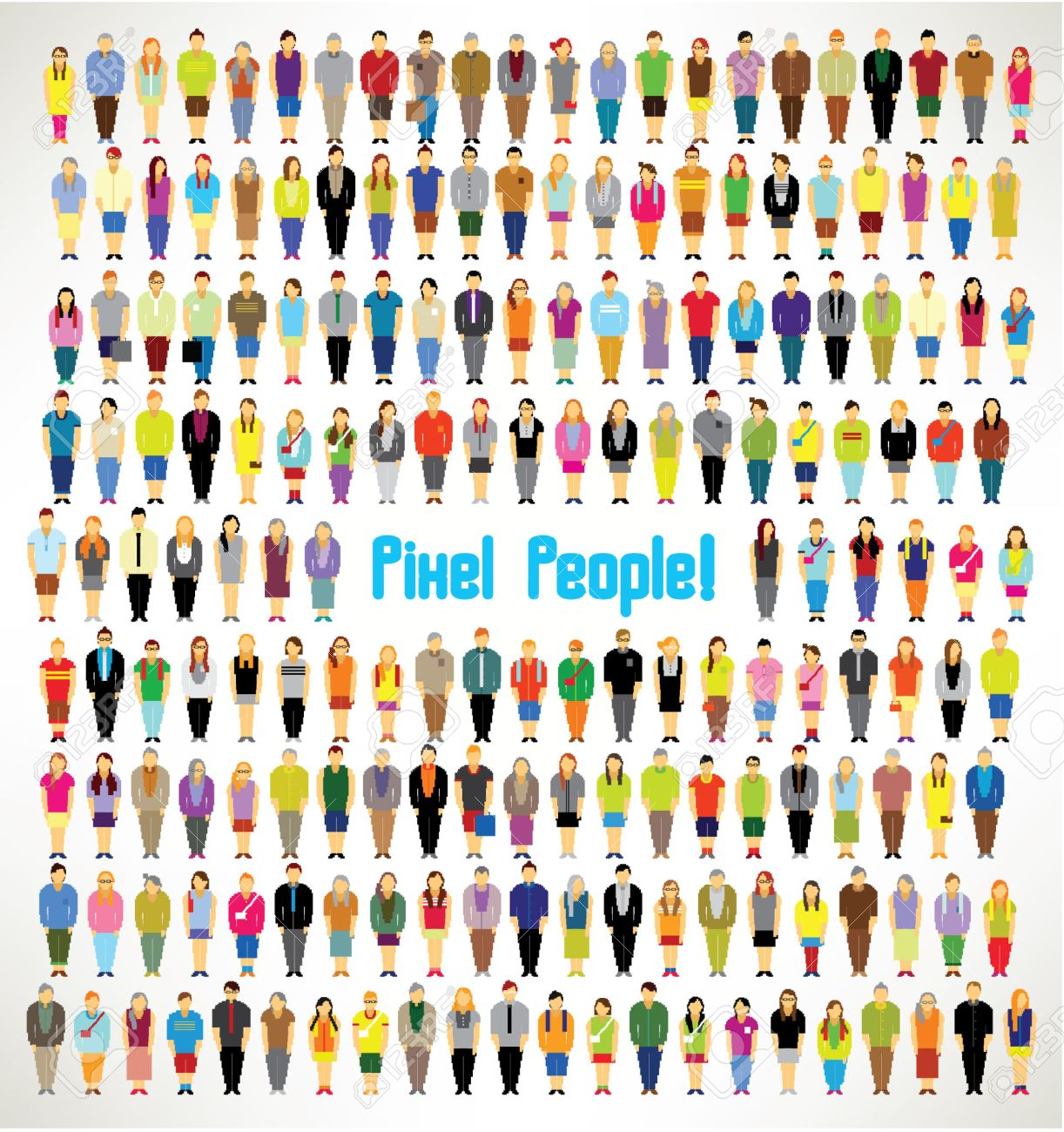 a large group of pixel people gather together vector icon design Stock Vector - 23005200