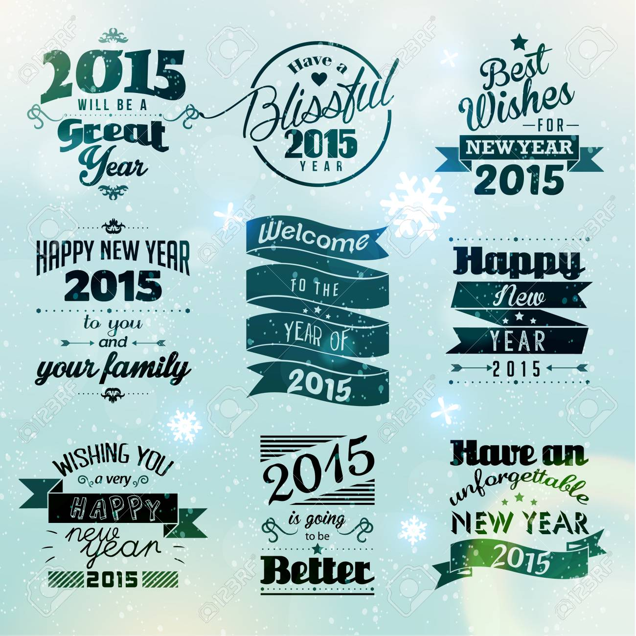 Happy New Year 2015 Season Greetings Quote Vector Design Royalty
