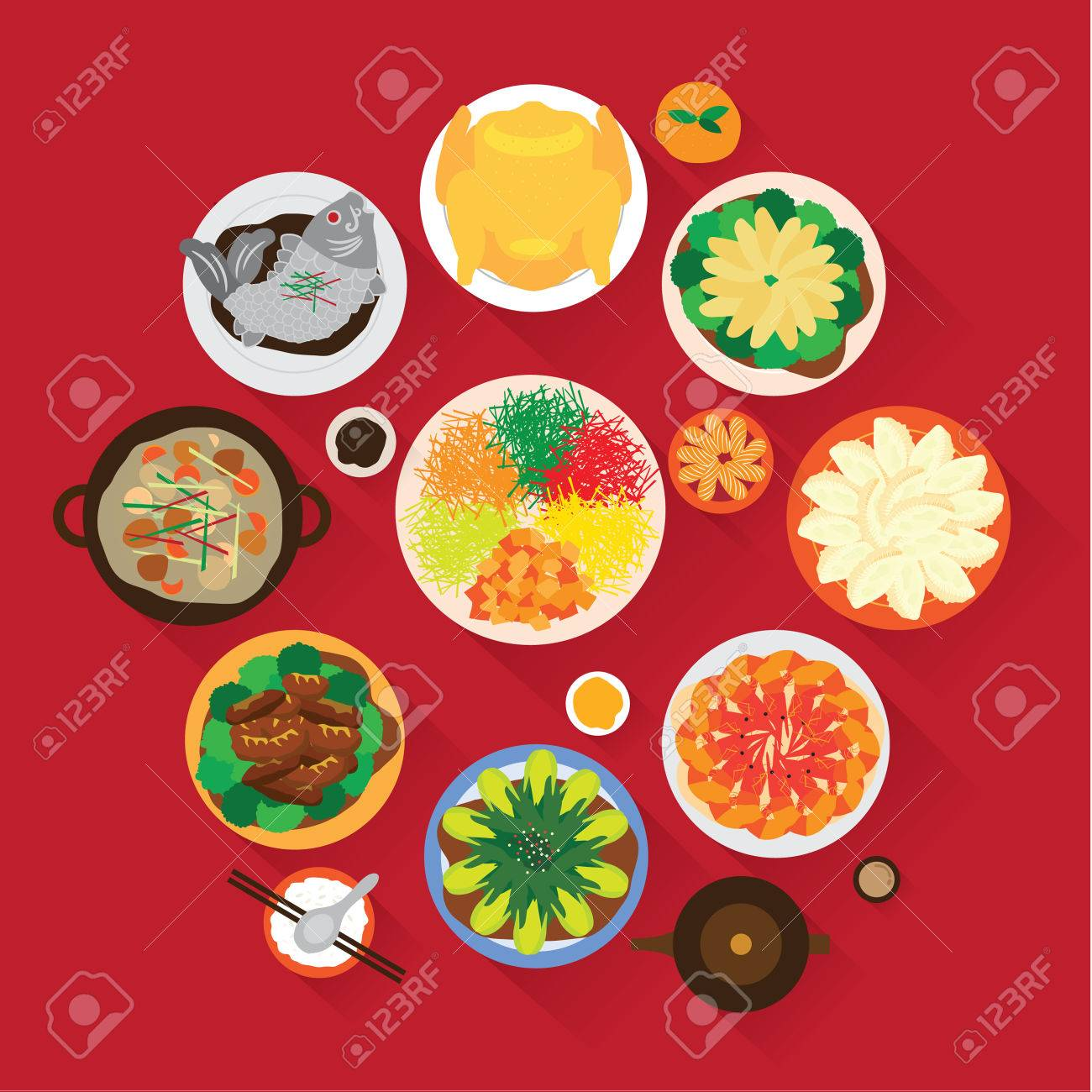 Chinese New Year Reunion Dinner Vector Design - 35001056