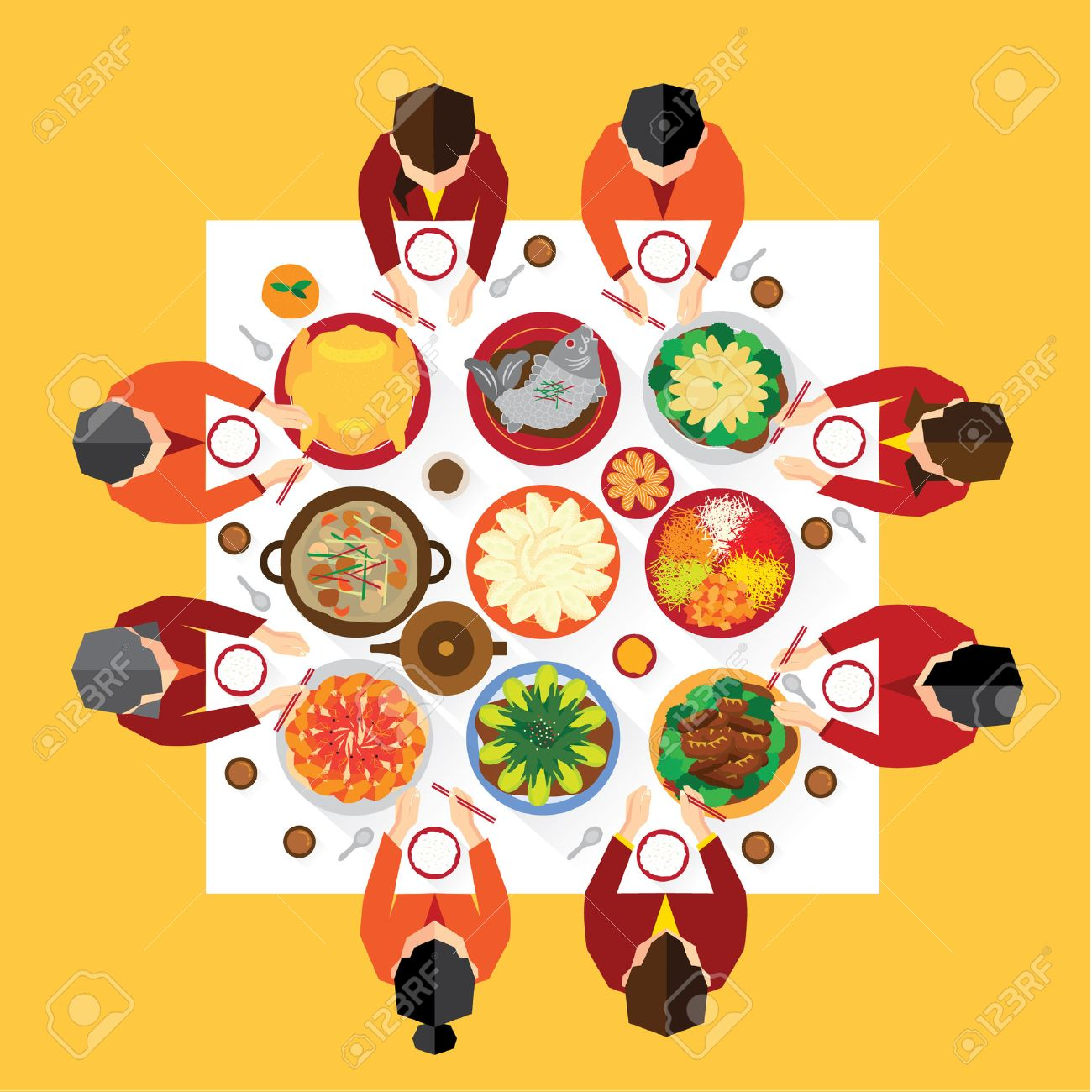 chinese new year reunion dinner vector design royalty free