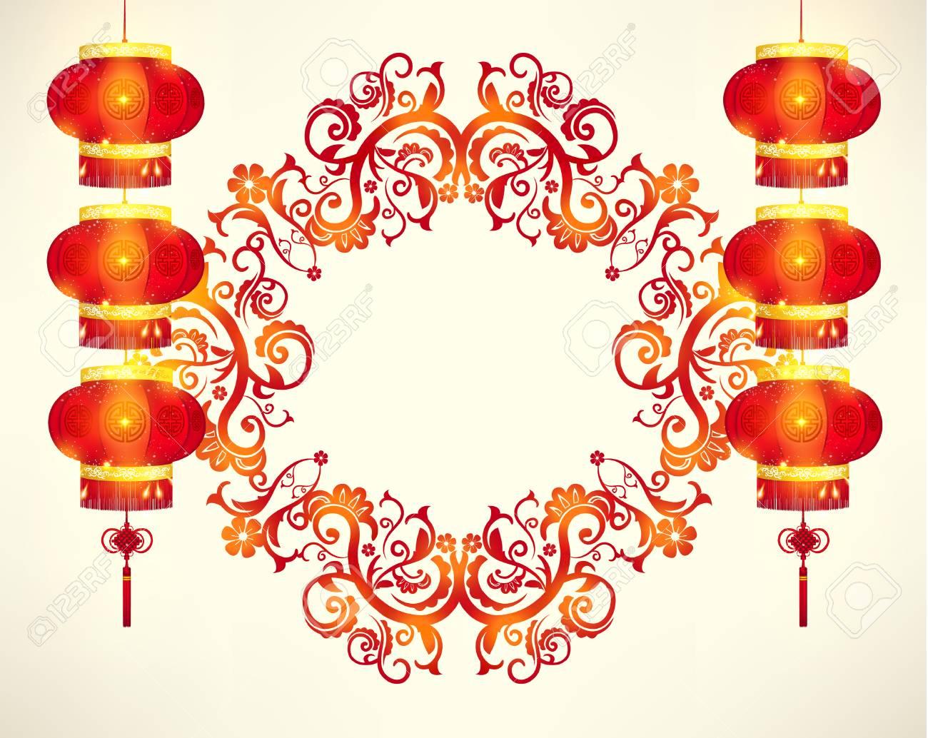 ハッピー中国の旧正月フレーム装飾ベクトル デザインのイラスト素材